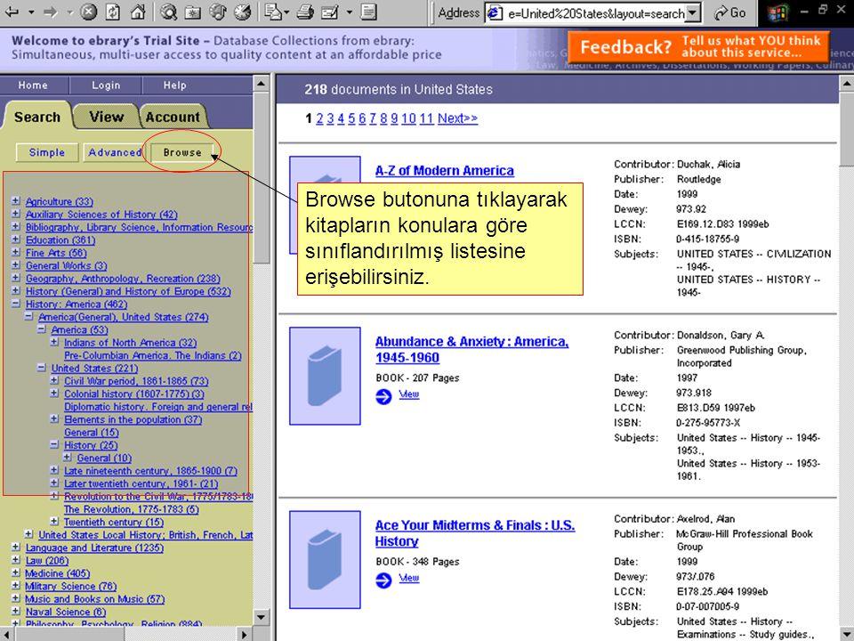 Browse butonuna tıklayarak kitapların konulara göre sınıflandırılmış listesine erişebilirsiniz.