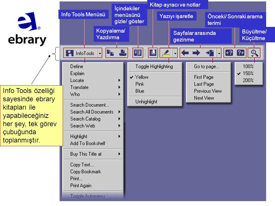 Info Tools Menüsü Kopyalama/ Yazdırma İçindekiler menüsünü gizle/ göster Kitap ayracı ve notlar Yazıyı işaretle Sayfalar arasında gezinme Önceki/ Sonr