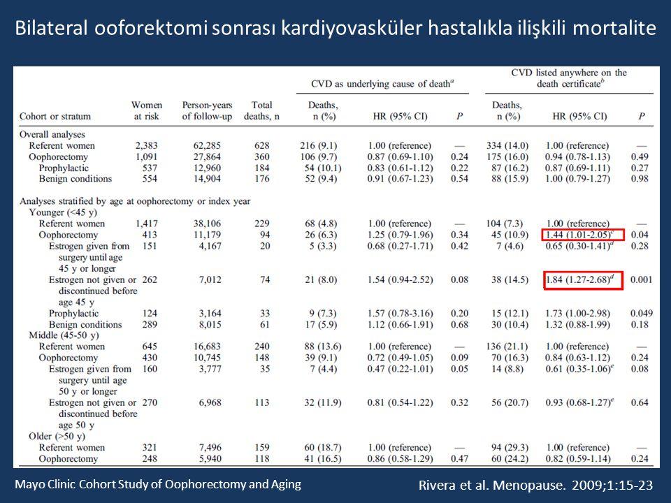 Bilateral ooforektomi sonrası kardiyovasküler hastalıkla ilişkili mortalite Rivera et al. Menopause. 2009;1:15-23 Mayo Clinic Cohort Study of Oophorec