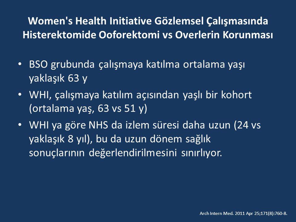 Women s Health Initiative Gözlemsel Çalışmasında Histerektomide Ooforektomi vs Overlerin Korunması BSO grubunda çalışmaya katılma ortalama yaşı yaklaşık 63 y WHI, çalışmaya katılım açısından yaşlı bir kohort (ortalama yaş, 63 vs 51 y) WHI ya göre NHS da izlem süresi daha uzun (24 vs yaklaşık 8 yıl), bu da uzun dönem sağlık sonuçlarının değerlendirilmesini sınırlıyor.
