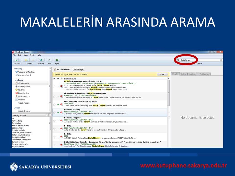 www.kutuphane.sakarya.edu.tr MAKALELERİN ARASINDA ARAMA