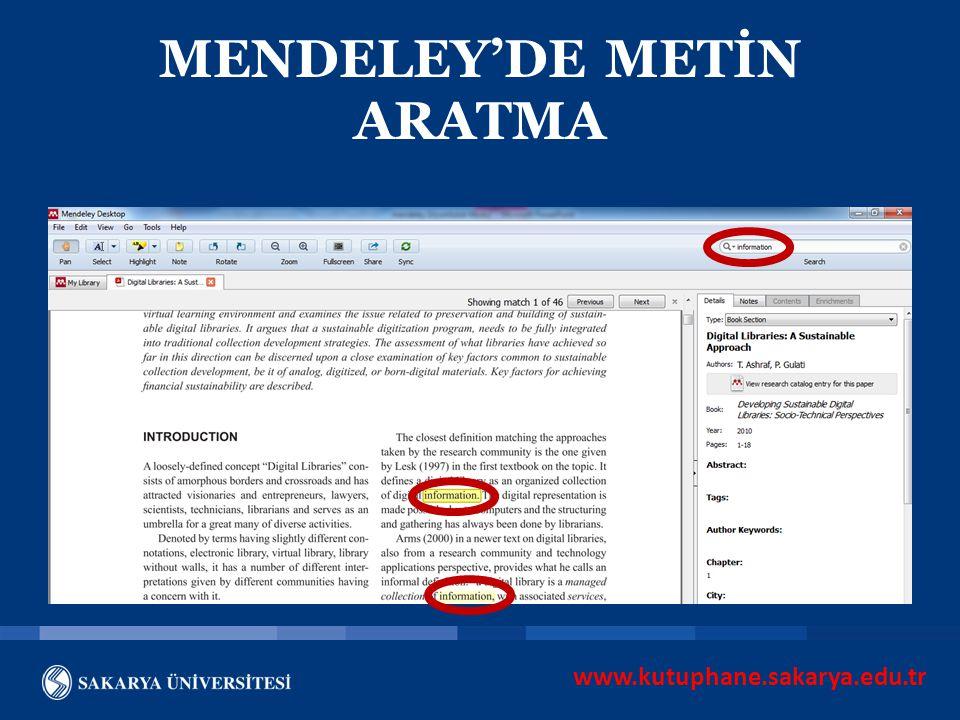 www.kutuphane.sakarya.edu.tr MENDELEY'DE METİN ARATMA