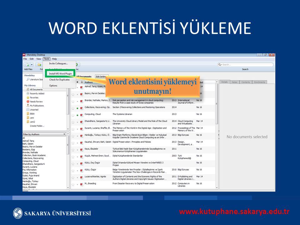 www.kutuphane.sakarya.edu.tr WORD EKLENTİSİ YÜKLEME