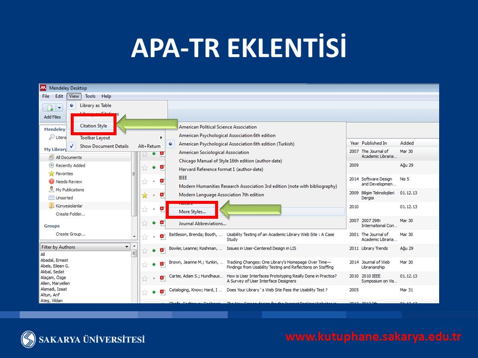www.kutuphane.sakarya.edu.tr APA-TR EKLENTİSİ