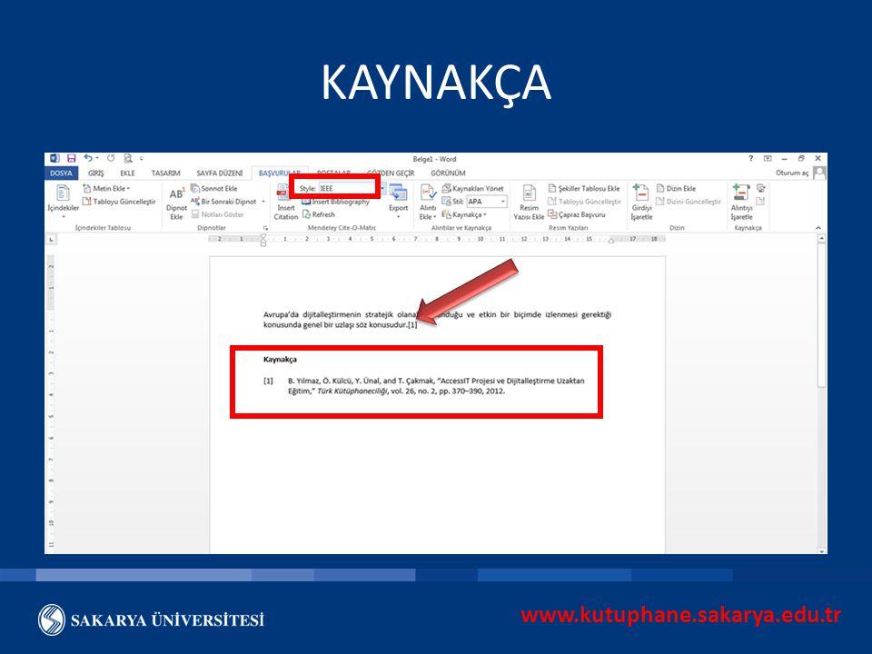 www.kutuphane.sakarya.edu.tr KAYNAKÇA