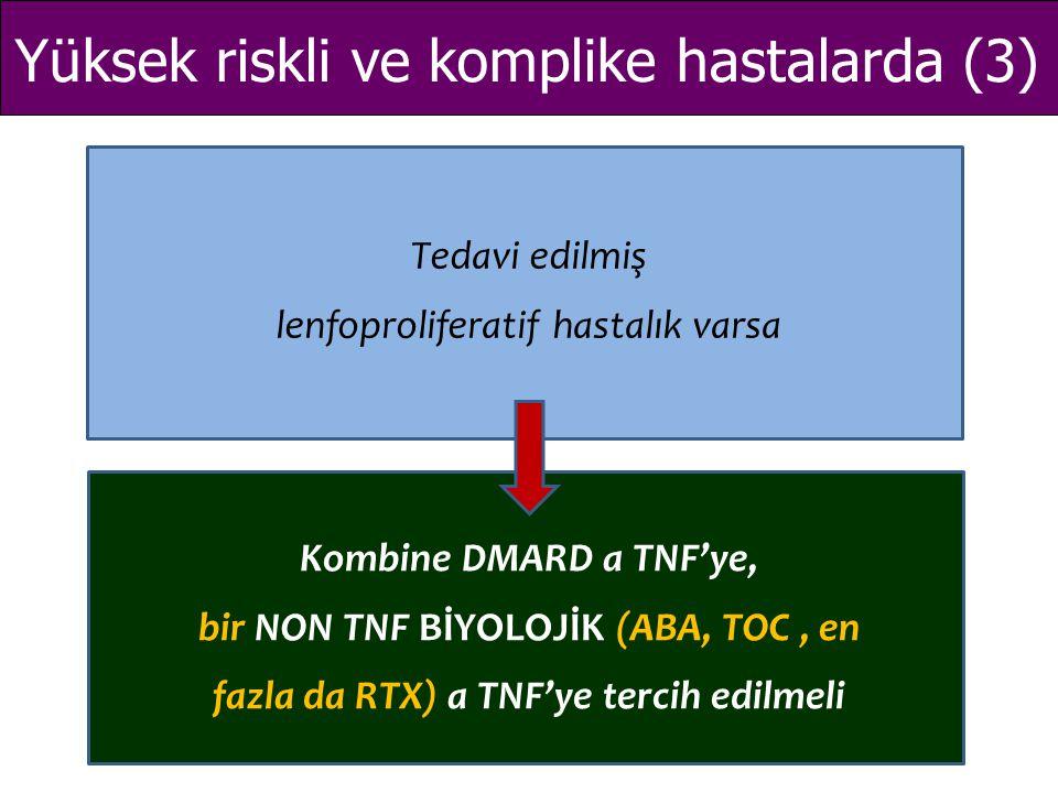 Yüksek riskli ve komplike hastalarda (3) Tedavi edilmiş lenfoproliferatif hastalık varsa Kombine DMARD a TNF'ye, bir NON TNF BİYOLOJİK (ABA, TOC, en f