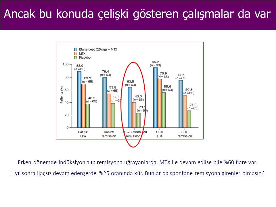 Ancak bu konuda çelişki gösteren çalışmalar da var Erken dönemde indüksiyon alıp remisyona uğrayanlarda, MTX ile devam edilse bile %60 flare var. 1 yı