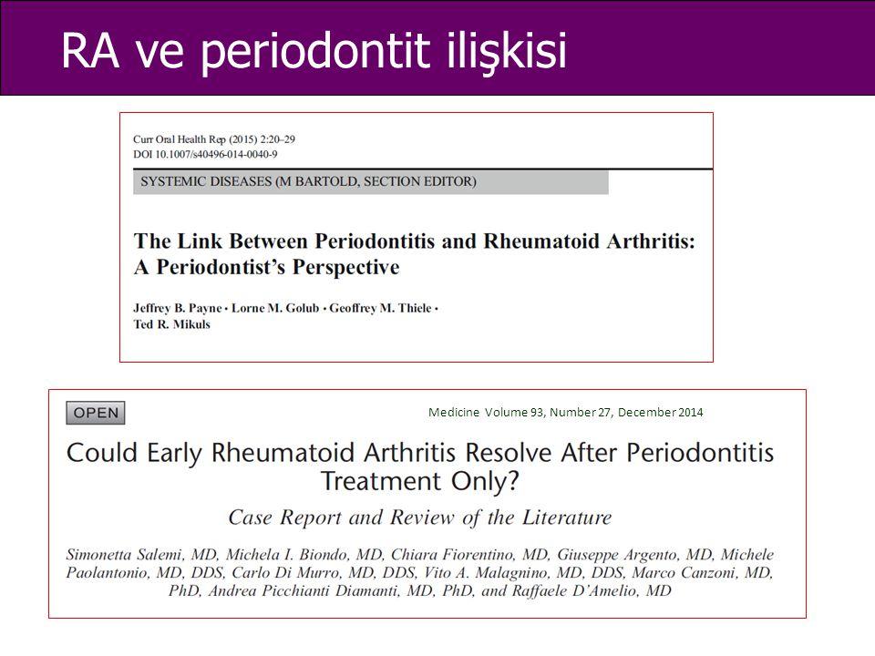 RA ve periodontit ilişkisi Medicine Volume 93, Number 27, December 2014