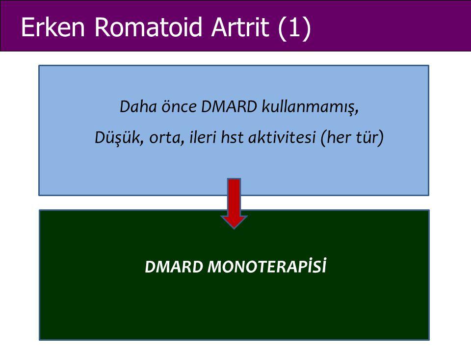 Erken Romatoid Artrit (1) Daha önce DMARD kullanmamış, Düşük, orta, ileri hst aktivitesi (her tür) DMARD MONOTERAPİSİ