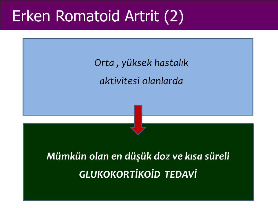 Erken Romatoid Artrit (2) Orta, yüksek hastalık aktivitesi olanlarda Mümkün olan en düşük doz ve kısa süreli GLUKOKORTİKOİD TEDAVİ