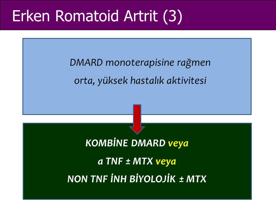 Erken Romatoid Artrit (3) DMARD monoterapisine rağmen orta, yüksek hastalık aktivitesi KOMBİNE DMARD veya a TNF ± MTX veya NON TNF İNH BİYOLOJİK ± MTX