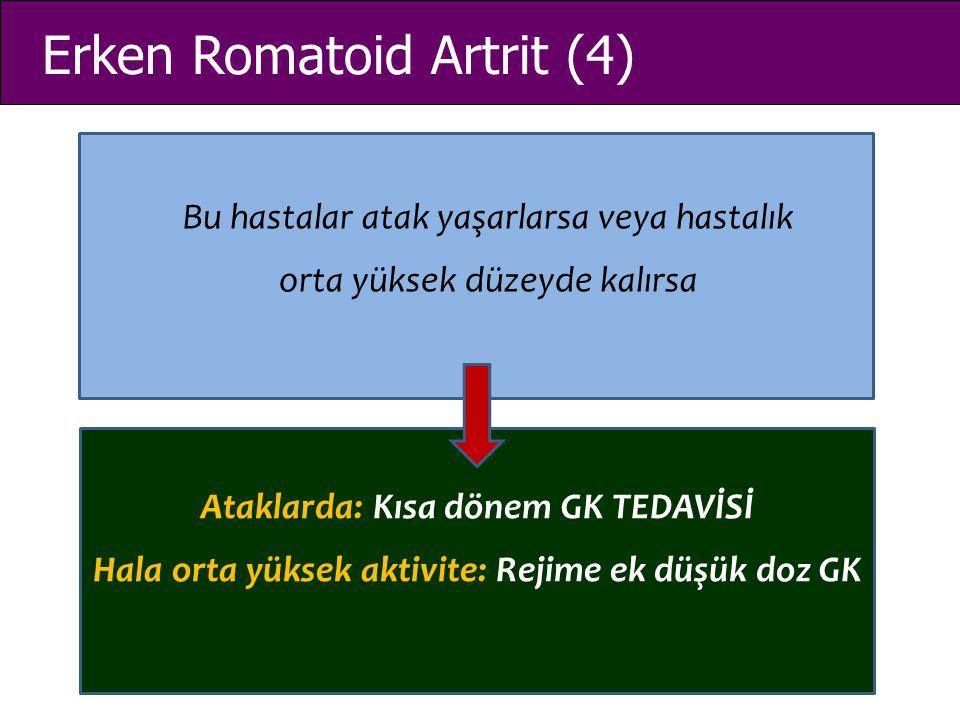 Erken Romatoid Artrit (4) Bu hastalar atak yaşarlarsa veya hastalık orta yüksek düzeyde kalırsa Ataklarda: Kısa dönem GK TEDAVİSİ Hala orta yüksek akt
