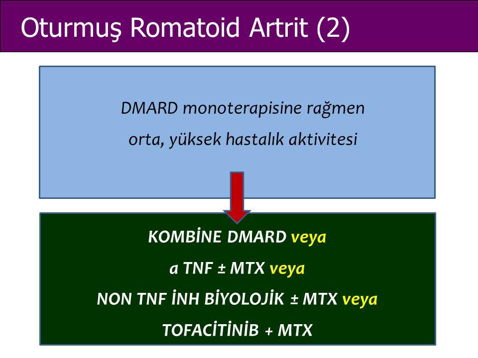 Oturmuş Romatoid Artrit (2) DMARD monoterapisine rağmen orta, yüksek hastalık aktivitesi KOMBİNE DMARD veya a TNF ± MTX veya NON TNF İNH BİYOLOJİK ± M