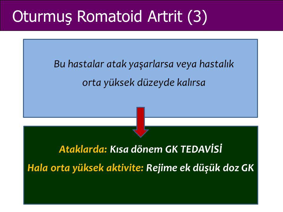 Oturmuş Romatoid Artrit (3) Bu hastalar atak yaşarlarsa veya hastalık orta yüksek düzeyde kalırsa Ataklarda: Kısa dönem GK TEDAVİSİ Hala orta yüksek a