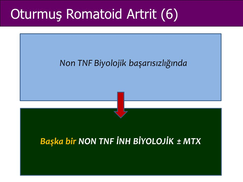 Oturmuş Romatoid Artrit (6) Non TNF Biyolojik başarısızlığında Başka bir NON TNF İNH BİYOLOJİK ± MTX