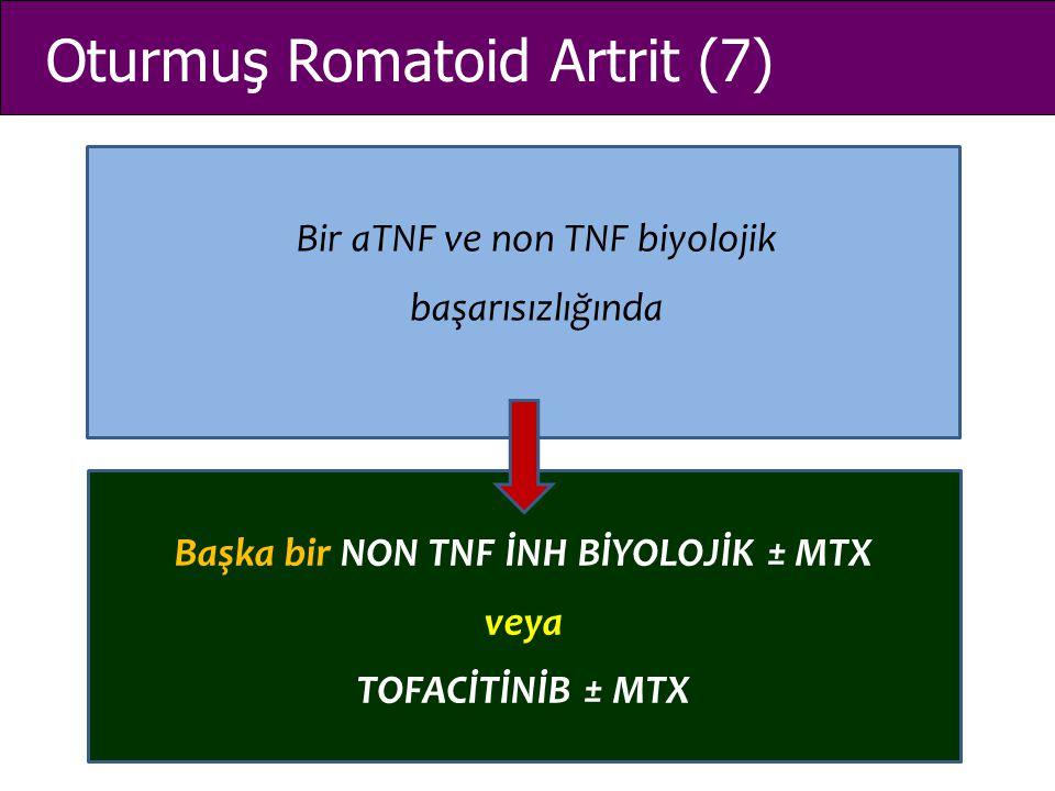 Oturmuş Romatoid Artrit (7) Bir aTNF ve non TNF biyolojik başarısızlığında Başka bir NON TNF İNH BİYOLOJİK ± MTX veya TOFACİTİNİB ± MTX