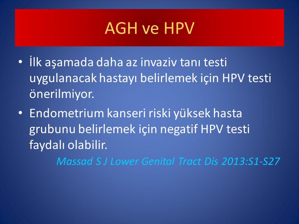AGH ve HPV İlk aşamada daha az invaziv tanı testi uygulanacak hastayı belirlemek için HPV testi önerilmiyor.