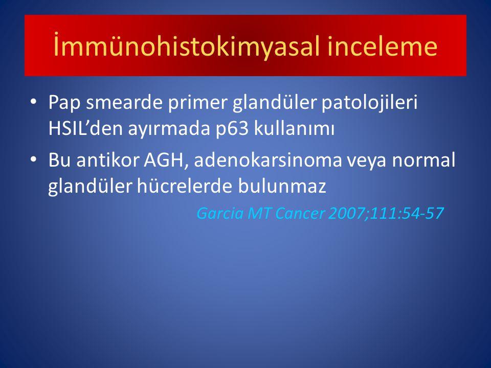 İmmünohistokimyasal inceleme Pap smearde primer glandüler patolojileri HSIL'den ayırmada p63 kullanımı Bu antikor AGH, adenokarsinoma veya normal glandüler hücrelerde bulunmaz Garcia MT Cancer 2007;111:54-57