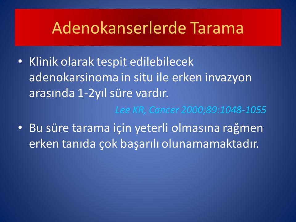 Adenokanserlerde Tarama Klinik olarak tespit edilebilecek adenokarsinoma in situ ile erken invazyon arasında 1-2yıl süre vardır.