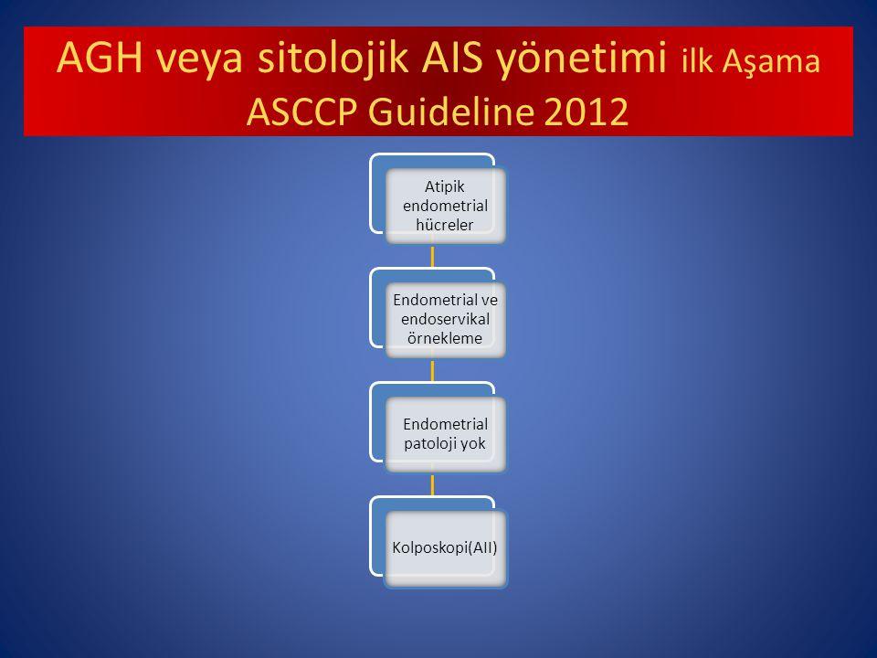 AGH veya sitolojik AIS yönetimi ilk Aşama ASCCP Guideline 2012 Atipik endometrial hücreler Endometrial ve endoservikal örnekleme Endometrial patoloji yok Kolposkopi(AII)