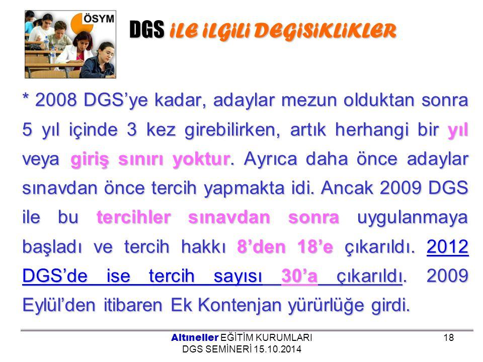 DGS iLE iLGiLi DEGiSiKLiKLER * 2008 DGS'ye kadar, adaylar mezun olduktan sonra 5 yıl içinde 3 kez girebilirken, artık herhangi bir yıl veya giriş sını
