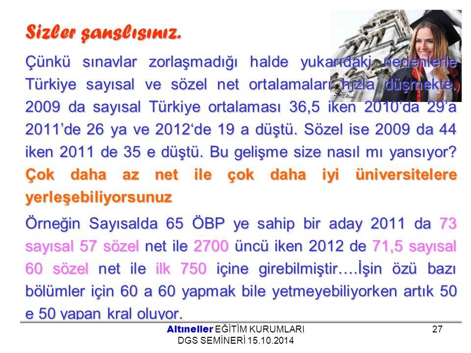 Sizler sanslısınız. Çünkü sınavlar zorlaşmadığı halde yukarıdaki nedenlerle Türkiye sayısal ve sözel net ortalamaları hızla düşmekte. 2009 da sayısal