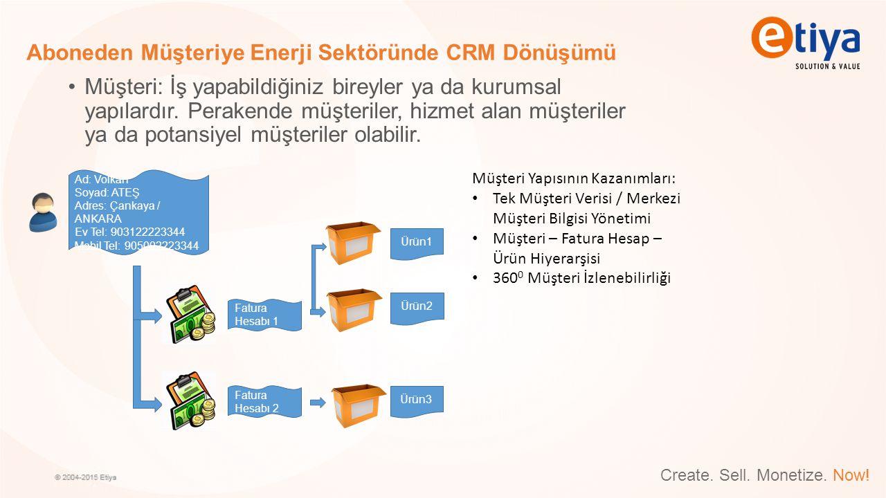 Create. Sell. Monetize. Now! Aboneden Müşteriye Enerji Sektöründe CRM Dönüşümü Müşteri: İş yapabildiğiniz bireyler ya da kurumsal yapılardır. Perakend