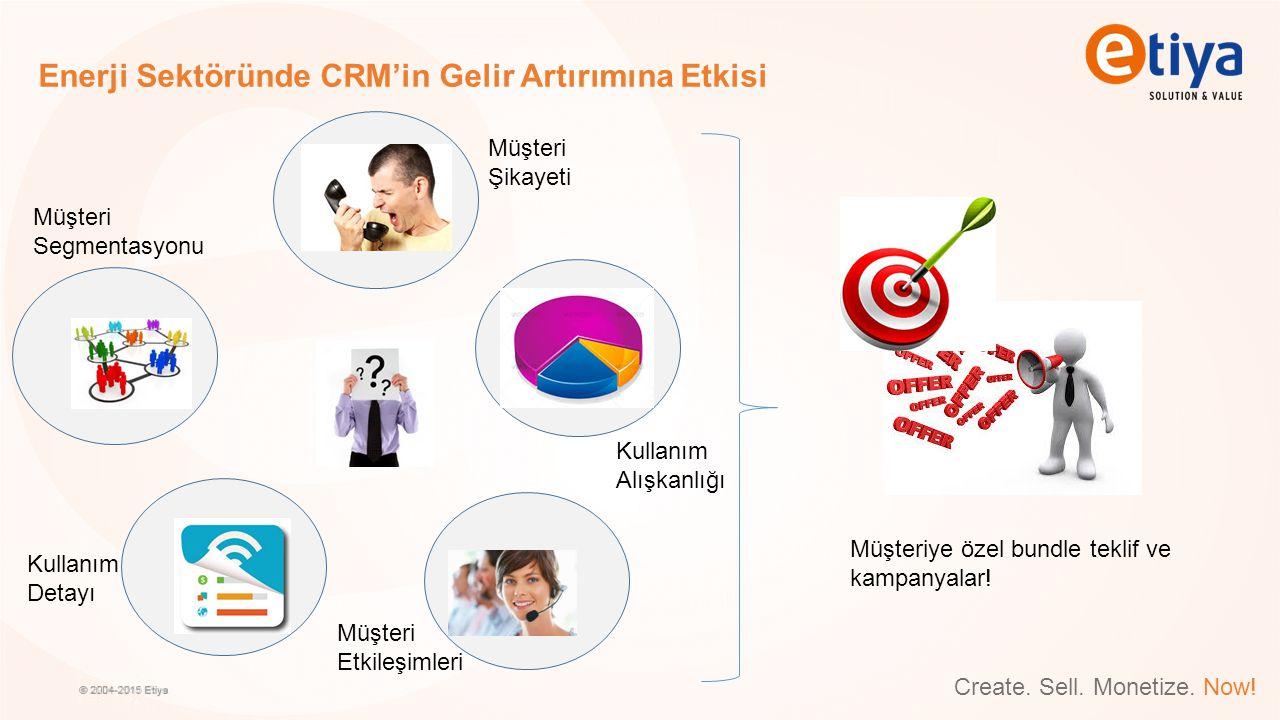 Create. Sell. Monetize. Now! Enerji Sektöründe CRM'in Gelir Artırımına Etkisi Müşteri Şikayeti Müşteri Segmentasyonu Kullanım Alışkanlığı Müşteri Etki