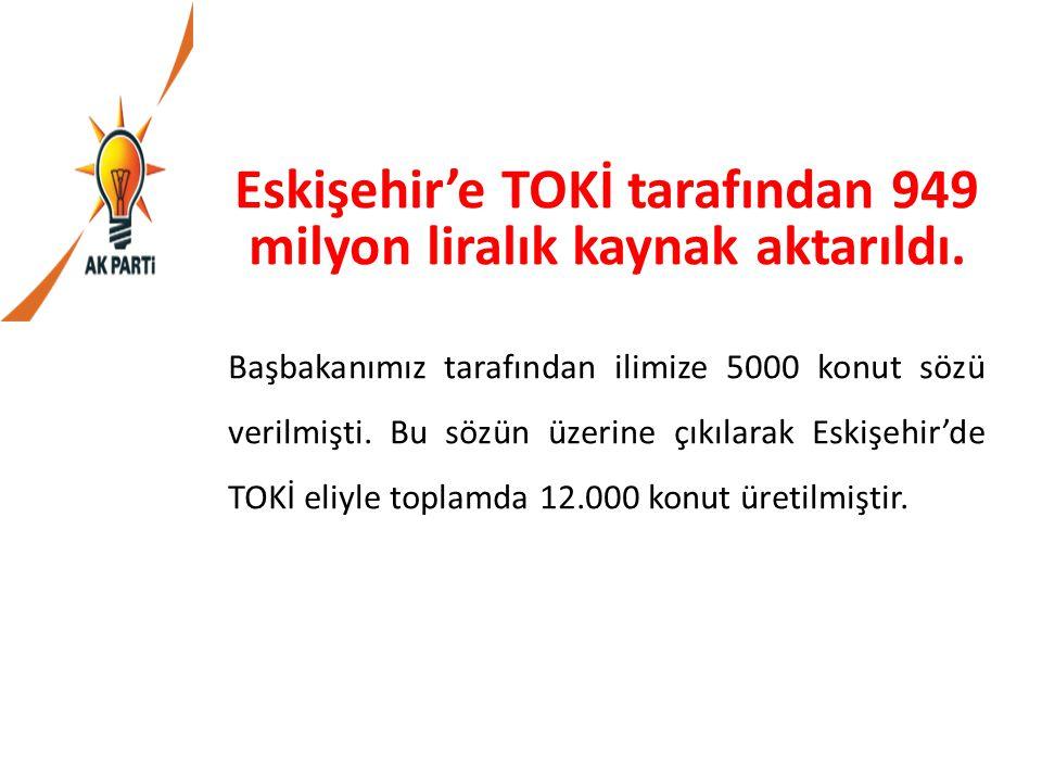 Eskişehir'e TOKİ tarafından 949 milyon liralık kaynak aktarıldı. Başbakanımız tarafından ilimize 5000 konut sözü verilmişti. Bu sözün üzerine çıkılara