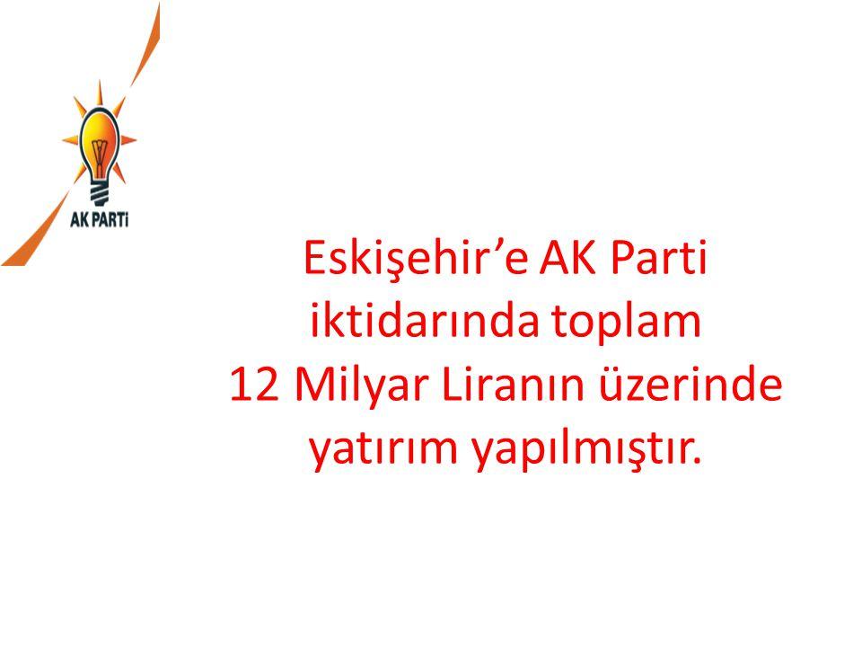 Eskişehir'e AK Parti iktidarında toplam 12 Milyar Liranın üzerinde yatırım yapılmıştır.