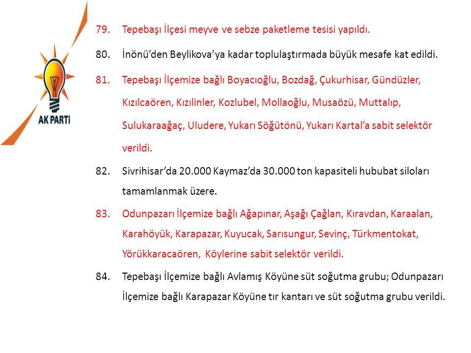 79.Tepebaşı İlçesi meyve ve sebze paketleme tesisi yapıldı. 80.İnönü'den Beylikova'ya kadar toplulaştırmada büyük mesafe kat edildi. 81.Tepebaşı İlçem