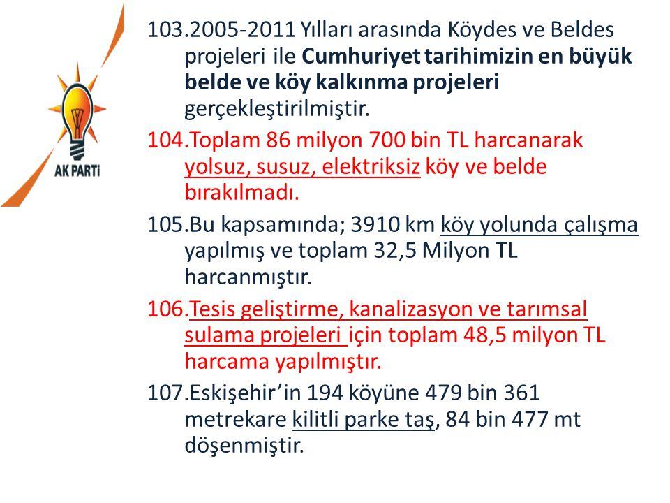 103.2005-2011 Yılları arasında Köydes ve Beldes projeleri ile Cumhuriyet tarihimizin en büyük belde ve köy kalkınma projeleri gerçekleştirilmiştir. 10