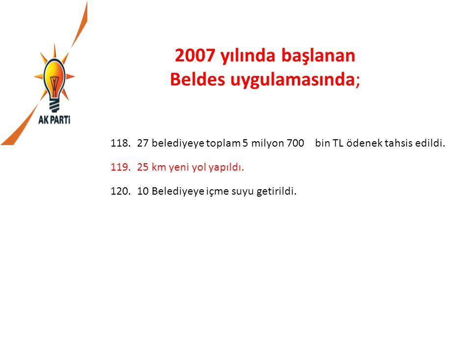 2007 yılında başlanan Beldes uygulamasında; 118.27 belediyeye toplam 5 milyon 700 bin TL ödenek tahsis edildi. 119.25 km yeni yol yapıldı. 120.10 Bele