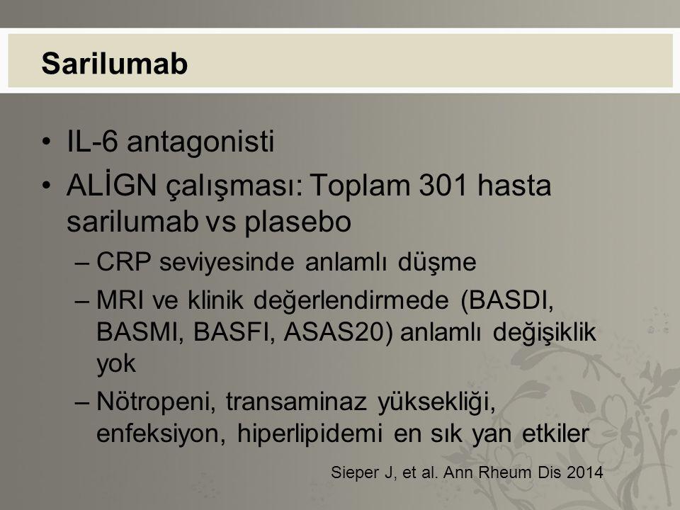 Sarilumab IL-6 antagonisti ALİGN çalışması: Toplam 301 hasta sarilumab vs plasebo –CRP seviyesinde anlamlı düşme –MRI ve klinik değerlendirmede (BASDI