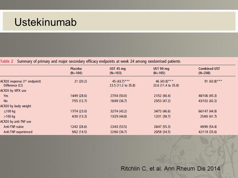 Ustekinumab Ritchlin C, et al. Ann Rheum Dis 2014