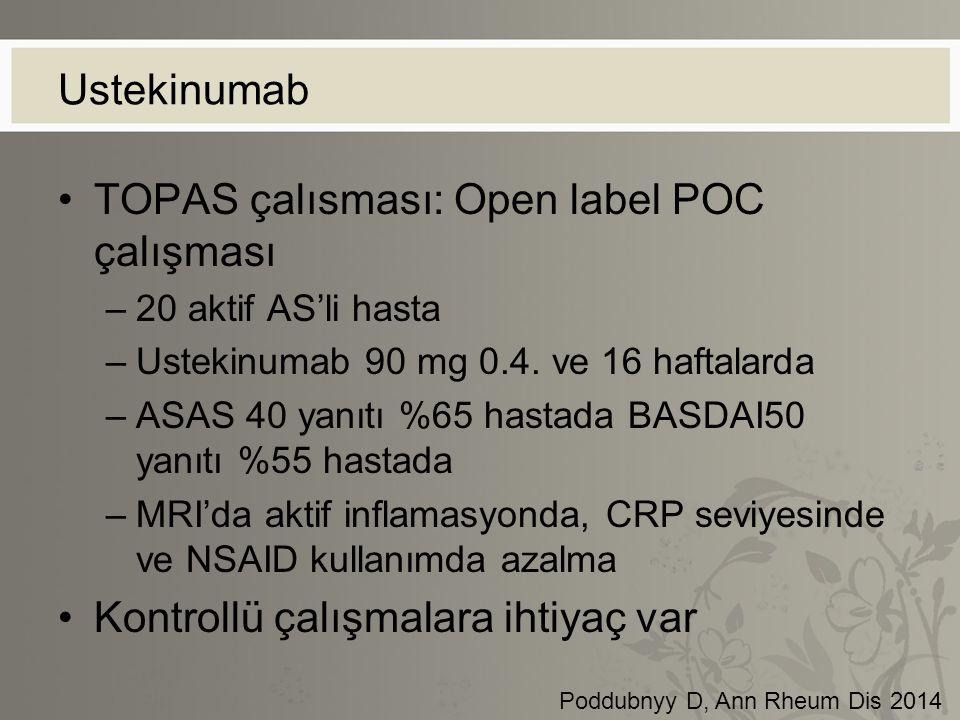 Ustekinumab TOPAS çalısması: Open label POC çalışması –20 aktif AS'li hasta –Ustekinumab 90 mg 0.4. ve 16 haftalarda –ASAS 40 yanıtı %65 hastada BASDA