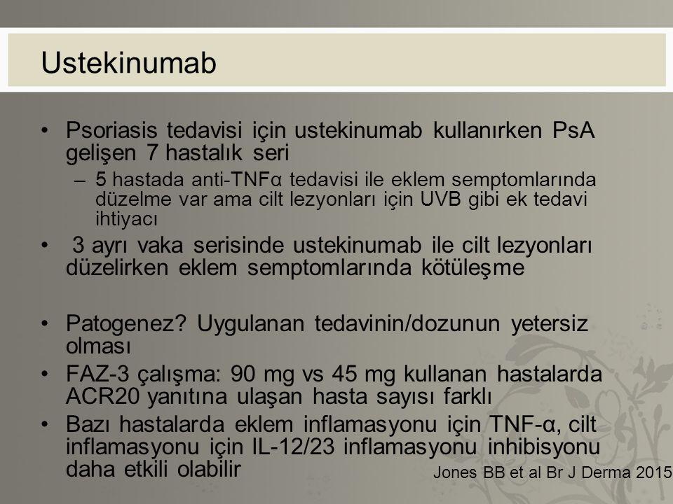 Ustekinumab Psoriasis tedavisi için ustekinumab kullanırken PsA gelişen 7 hastalık seri –5 hastada anti-TNFα tedavisi ile eklem semptomlarında düzelme