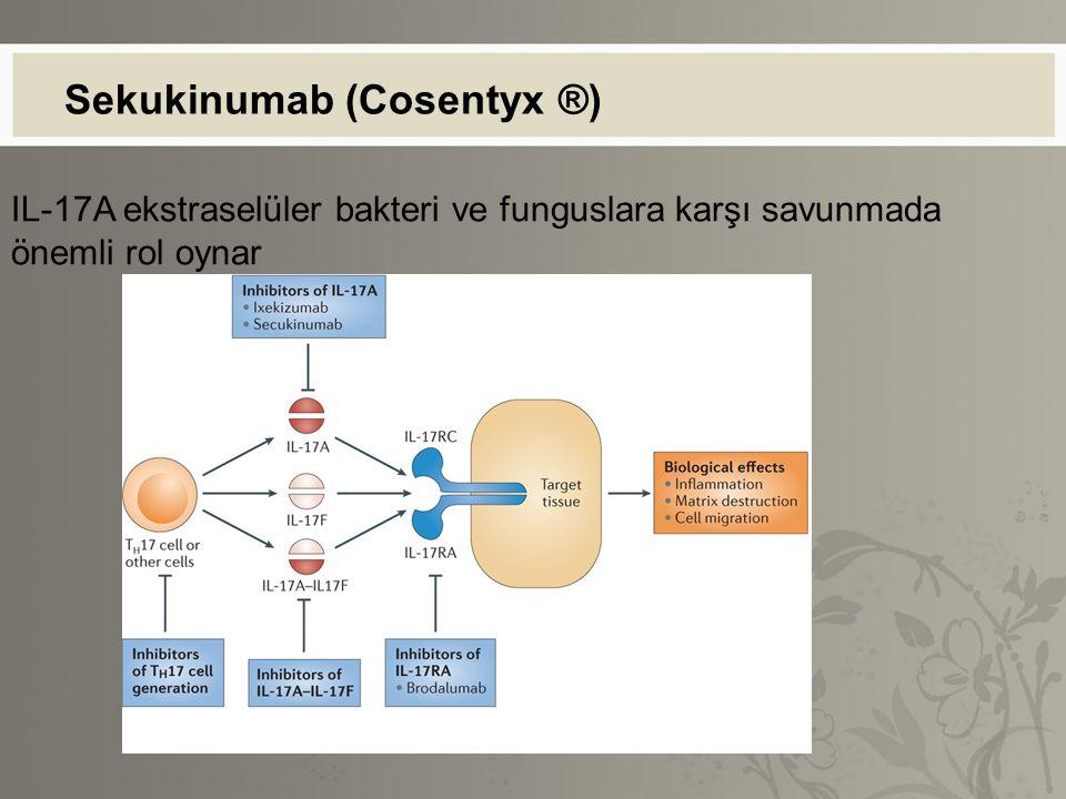 Sekukinumab (Cosentyx ®) IL-17A ekstraselüler bakteri ve funguslara karşı savunmada önemli rol oynar
