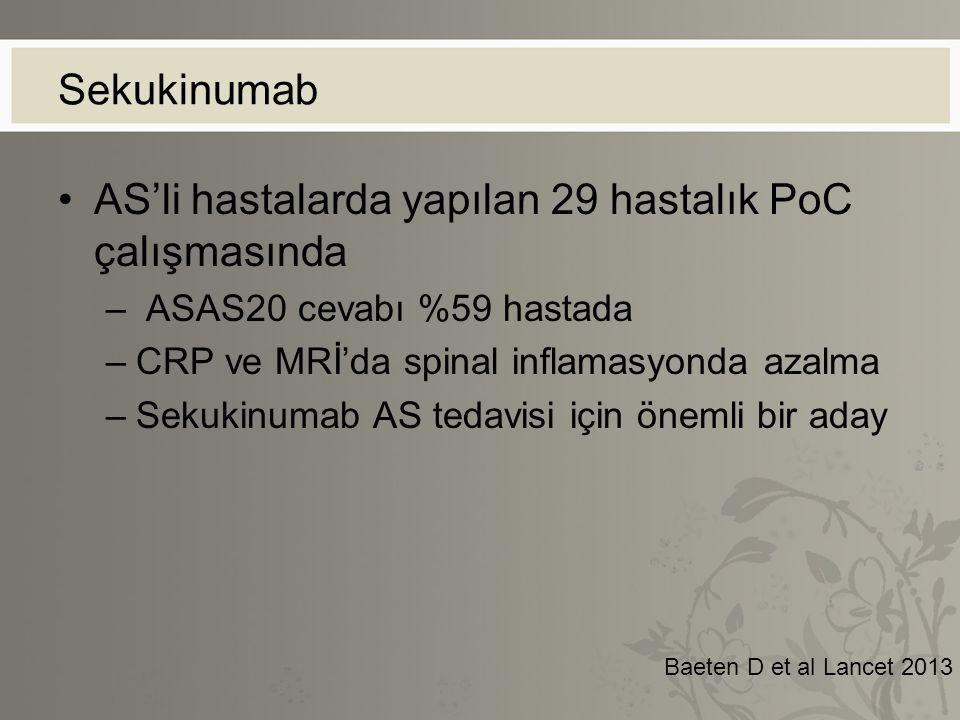 Sekukinumab AS'li hastalarda yapılan 29 hastalık PoC çalışmasında – ASAS20 cevabı %59 hastada –CRP ve MRİ'da spinal inflamasyonda azalma –Sekukinumab