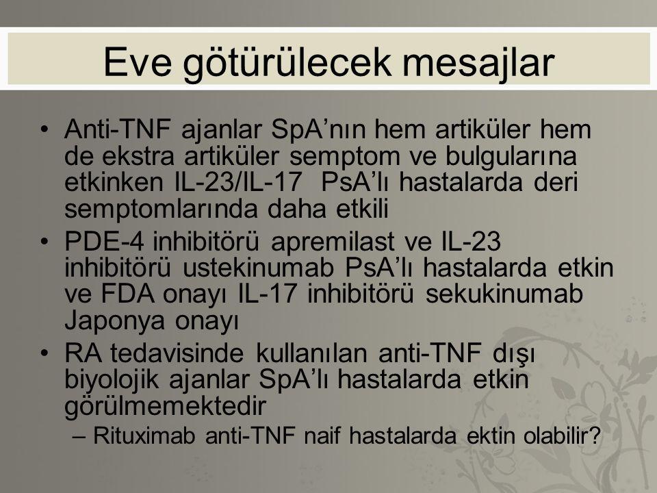 Eve götürülecek mesajlar Anti-TNF ajanlar SpA'nın hem artiküler hem de ekstra artiküler semptom ve bulgularına etkinken IL-23/IL-17 PsA'lı hastalarda