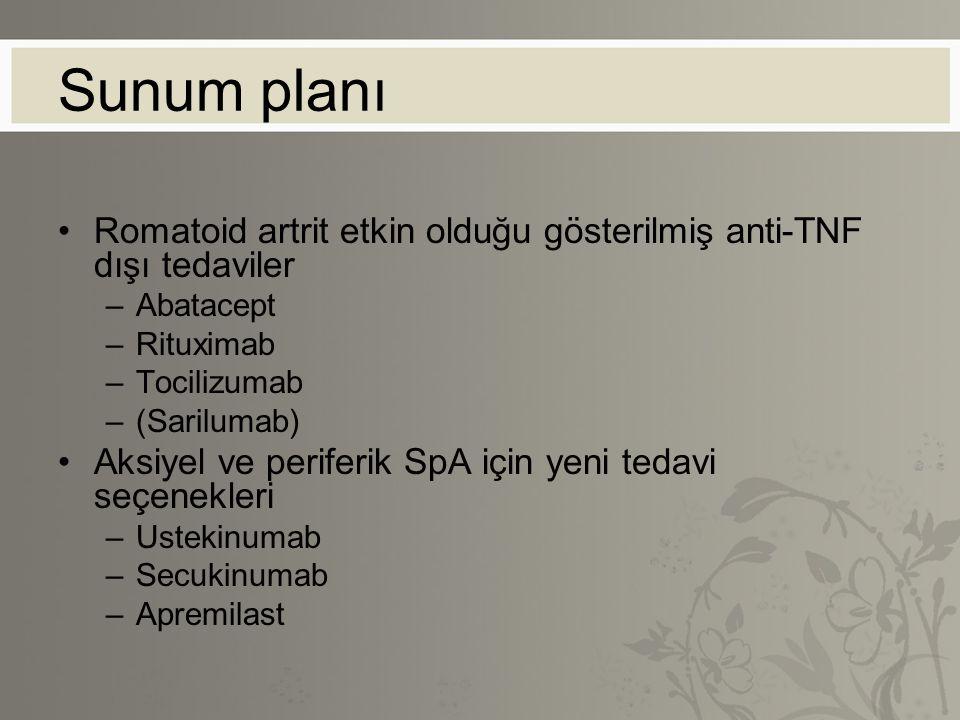 Sunum planı Romatoid artrit etkin olduğu gösterilmiş anti-TNF dışı tedaviler –Abatacept –Rituximab –Tocilizumab –(Sarilumab) Aksiyel ve periferik SpA