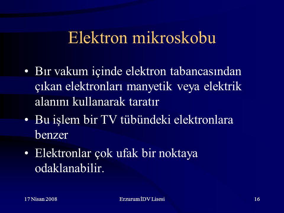 17 Nisan 2008Erzurum İDV Lisesi16 Elektron mikroskobu Bır vakum içinde elektron tabancasından çıkan elektronları manyetik veya elektrik alanını kullanarak taratır Bu işlem bir TV tübündeki elektronlara benzer Elektronlar çok ufak bir noktaya odaklanabilir.