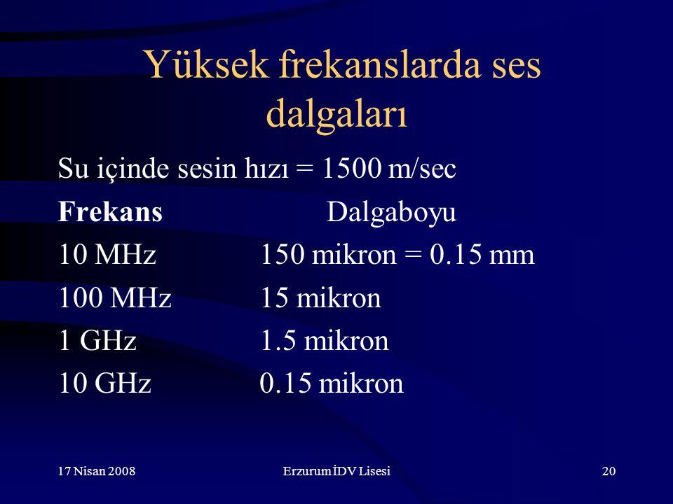 17 Nisan 2008Erzurum İDV Lisesi20 Yüksek frekanslarda ses dalgaları Su içinde sesin hızı = 1500 m/sec FrekansDalgaboyu 10 MHz150 mikron = 0.15 mm 100 MHz15 mikron 1 GHz1.5 mikron 10 GHz0.15 mikron