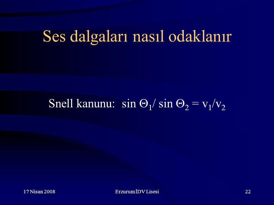 17 Nisan 2008Erzurum İDV Lisesi22 Ses dalgaları nasıl odaklanır Snell kanunu: sin  1 / sin  2 = v 1 /v 2