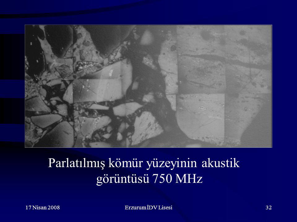 17 Nisan 2008Erzurum İDV Lisesi32 Parlatılmış kömür yüzeyinin akustik görüntüsü 750 MHz
