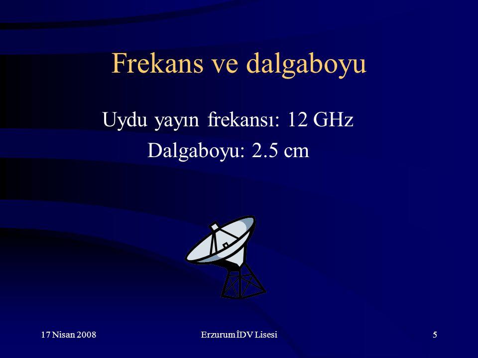 17 Nisan 2008Erzurum İDV Lisesi5 Frekans ve dalgaboyu Uydu yayın frekansı: 12 GHz Dalgaboyu: 2.5 cm