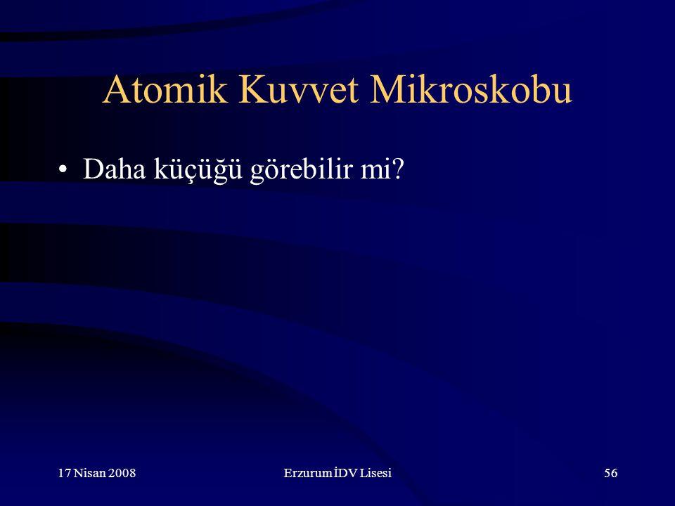 17 Nisan 2008Erzurum İDV Lisesi56 Atomik Kuvvet Mikroskobu Daha küçüğü görebilir mi?