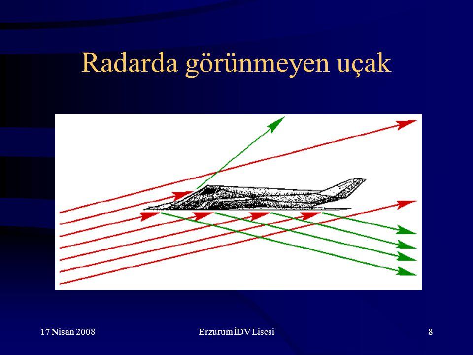 17 Nisan 2008Erzurum İDV Lisesi9 Frekans ve dalgaboyu Trafik radarı frekansı: 30 GHz Dalgaboyu: 1 cm