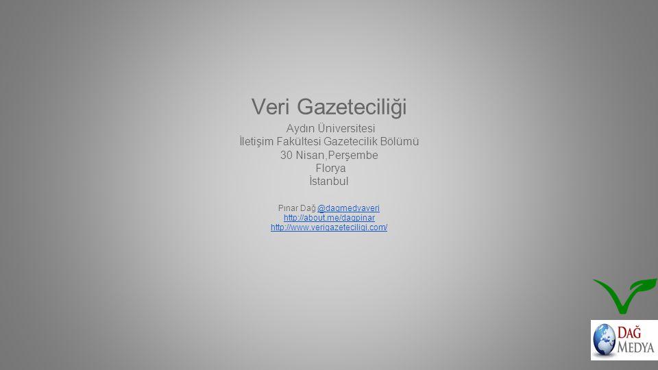 Veri Gazeteciliği Aydın Üniversitesi İletişim Fakültesi Gazetecilik Bölümü 30 Nisan,Perşembe Florya İstanbul Pınar Dağ @dagmedyaveri http://about.me/dagpinar http://www.verigazeteciligi.com/@dagmedyaveri http://about.me/dagpinar http://www.verigazeteciligi.com/