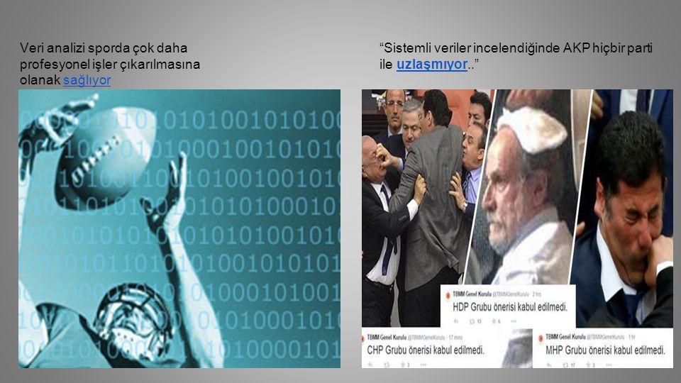 Veri analizi sporda çok daha profesyonel işler çıkarılmasına olanak sağlıyorsağlıyor Sistemli veriler incelendiğinde AKP hiçbir parti ile uzlaşmıyor.. uzlaşmıyor